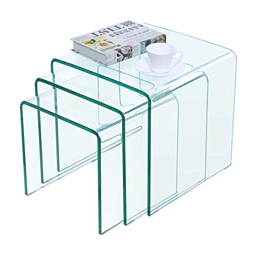 - Framodo Bent Glass Coffee Table Set of 3 pcs Stacking Nesting End Side Tables Set Living Room,Clear Tempered Glass