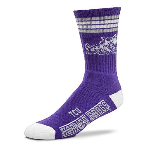 (For Bare Feet NCAA 4 Stripe Deuce Crew Men Socks-TCU Horned Frogs-Medium)