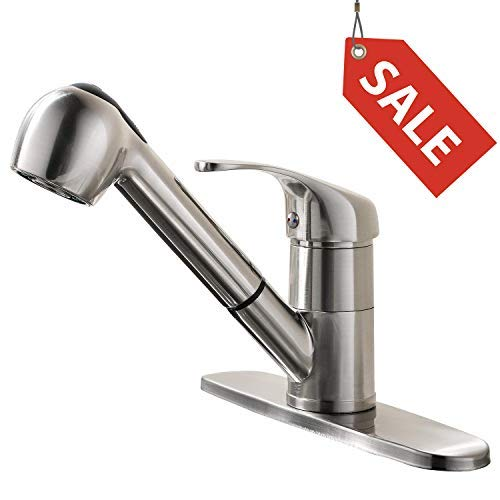 GOOAO Single Handle Pull Out Sprayer Kitchen Faucet with Deck Plate, Polished Brush Nickel ()