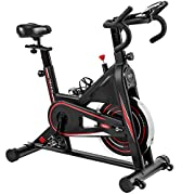 #LightningDeal Exercise Bike, DMASUN Indoor Cycling Bike Stationary, Comfortable Seat Cushion, Multi - grips Handlebar, Heavy Flywheel Upgraded Version (Black)