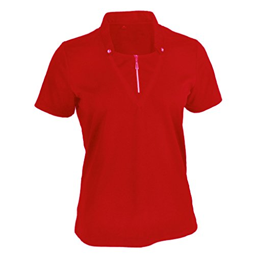 Double Placket - Monterey Club Ladies Dry Swing Double Placket Standup Collar Shirt #2442 (Lipstick Red, Large)