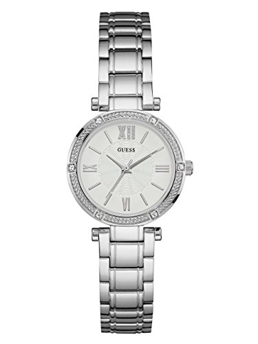 GUESS-Womens-U0767L1-Dressy-Silver-Tone-Watch-with-White-Dial-Crystal-Accented-Bezel-and-Stainless-Steel-Pilot-Buckle