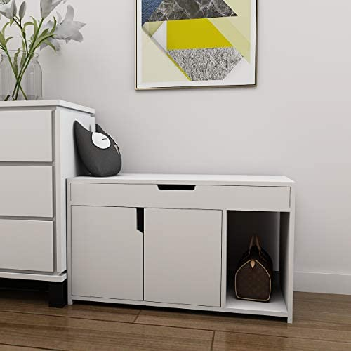 White Shoe Bench Storage Rack Seat for Entrance Hallway Furniture White 2 Doors