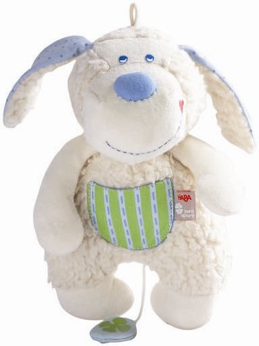 HABA Pure Nature Organic Pudgie Puppy Musical Plush (Puppy Musical Pull Toy)