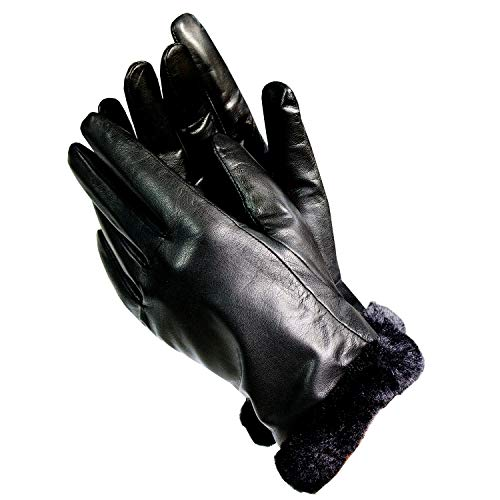 - Isotoner A56212 Women's Lined Leather Gloves With Faux Fur Trim Black (8)