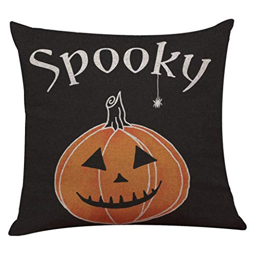 "YOcheerful Halloween Pillow Cover Pumpkin Witch Scary Bat Ghost Devil Kittens (D,45cm45cm/1818"")"