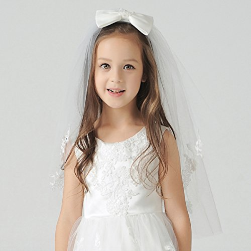 Elesa Miracle Flower Girl Bow Embroidered Wedding Veil, Ivory, In Gift Box by Elesa Miracle (Image #5)
