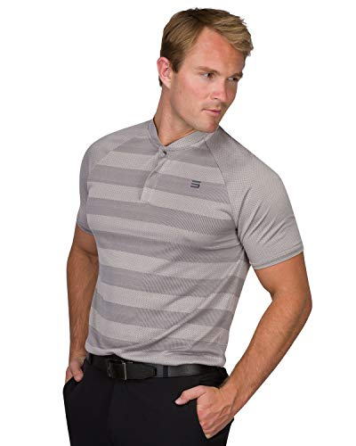 Three Sixty Six Golf Shirts for Men - Dry Fit Collarless Polo Shirts - Lightweight and Breathable, Stripe Design