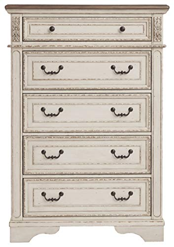 Bedroom Signature Design by Ashley B743-46 Realyn Chest of Drawers Chipped White dresser