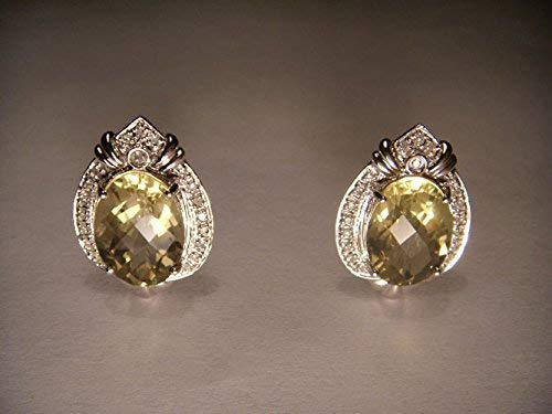 - Fabulous Estate 14K White Gold Lemon Quartz Pave Diamond Earrings