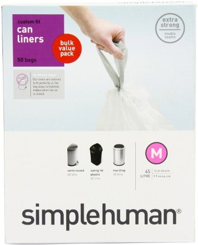 simplehuman Custom Fit Trash Can Liner M, 45 Liters / 12 Gallons, 50-Count, Health Care Stuffs