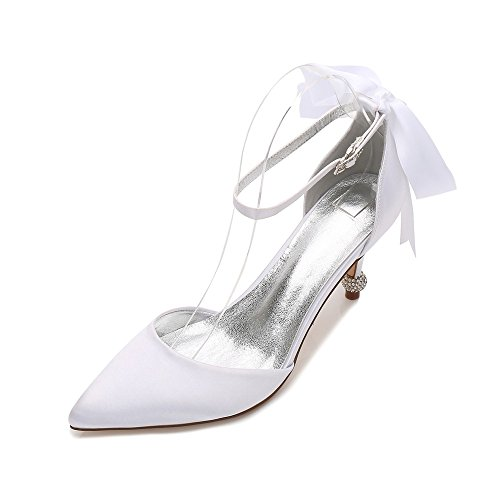 Temperamento di e Donna 38 Scarpe Heel Banchetti Scarpe Moda Partito Colore Calzature Personalizzato Bianco Matrimoni Strap Manuale Seta Duoai High Raso Punta qCzRBzwX