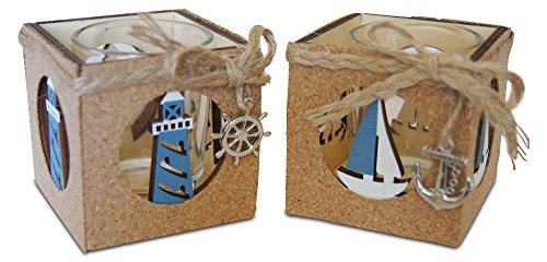 Shoreside Nautical 2-Piece Lighthouse & Sailboat Cork Covered Rustic Tea Light Candle Holder Home & Room Beach Decor