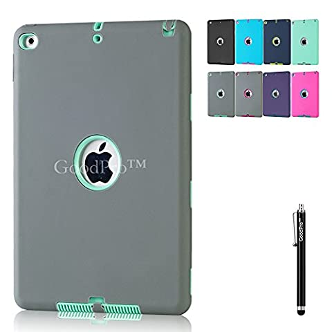 iPad 6 Case, iPad Air 2 Case, GoodPro™ [3IN1 Silicone&PC](Grey+Mint), Hybrid Back Cover for Apple iPad 6 and iPad Air 2, (Free Stylus) Apple iPad 6 Case, Apple iPad Air 2 (Elsa Ipad Air Case)