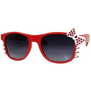 Hello Kitty Nerd Clear Lens Eye Glasses Black Frame Red Bow Silver Rhinestone (Red Black Lens)