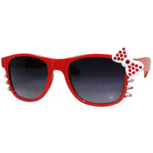 Hello Kitty Nerd Clear Lens Eye Glasses Black Frame Red Bow Silver Rhinestone (Red Black - Womens 2014 Frames Glasses