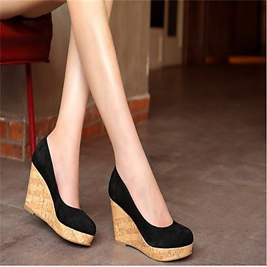 Feather LvYuan Wedge Heel Mary Winter Women's ggx PU Boots Casual dark blue Jane rzwrvxq8