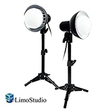 LimoStudio 2 Sets of 18W LED Photography Table Top Photo Studio Lighting Kit with Energy Saving Light Bulb and Light Stand Tripod, AGG1077
