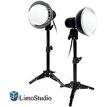 LimoStudio 2 Sets of 18W LED Photography Table Top Photo Studio Lighting Kit with Energy Saving Light Bulb and Light Stand Tripod, AGG1077