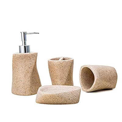 """Advanced Resin Simple Modern Bathroom Accessory Set, Matte Texture, Full Set Includes 1 Tumbler, 1 Toothbrush Holder, 1 soap Dish and 1 Soap Dispenser (Beige(Streamline)) - 🎁Stylish bathroom accessories-""""The four-piece set is made of high-grade resin, the overall color is beige (or gray), the surface has a matte texture, the bottom is laminated, with anti-slip function, the overall shape is full of design sense, this bathroom accessory will definitely improve The bathroom decorates the look and adds functionality! It is one of the best bathroom decorating ideas. """" 🎁Bathroom kit-The four-piece suit is equipped with: 1 soap dispenser(3.52*3.52*7.26 inch), 1 toothbrush holder(3.12*3.52*3.52 inch), 1 tumbler (3.12*3.12*3.72 inch) and 1 soap dish(4.9*3.13*1.16 inch) 🎁Durable process design-This four-piece bathroom accessory set is made of high-grade resin with a matte feel. The liquid soap dispenser pump is made of high-quality materials. The soap dispenser is designed to not block or rupture during use. The bracket is enough for multiple toothbrushes and toothpastes to give you a better experience. - bathroom-accessory-sets, bathroom-accessories, bathroom - 41q9IgQIRsL. SS400  -"""