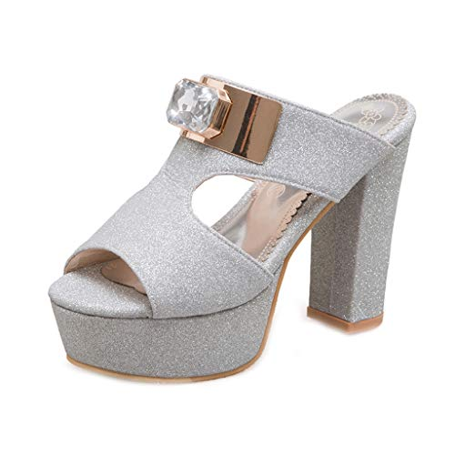 MIOKE Women Glitter Platform Block High Heel Sandals Sexy Peep Toe Comfort Chunky Wedge Dress Pump Sandal Silver