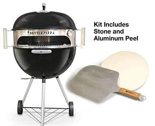 Made in USA KettlePizza Deluxe USA Pizza Oven Kit for Kettle Grills - Includes Stone and Metal Peel, KPDU-22 (Pizza Grill Kit)