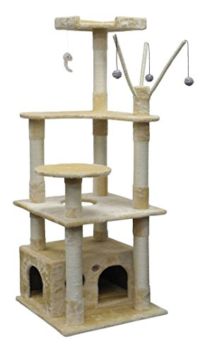 "Go Pet Club F3031 Toy Cat Tree, 65.5"", Beige"