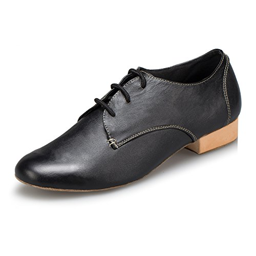 CRC Men's Stylish Round Toe Lace Up Black Leather Salsa Tango Ballroom Morden Latin Jazz Rumba Professional Dance Shoes 9 M US by CRC