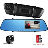 Backup Camera, 4.3 Inch Touch Screen Mirror Dash Cam Front and Rear Backup Reverse Camera, Vehicle Driving Recorder, Parking Monitor [16G SD Card Include]