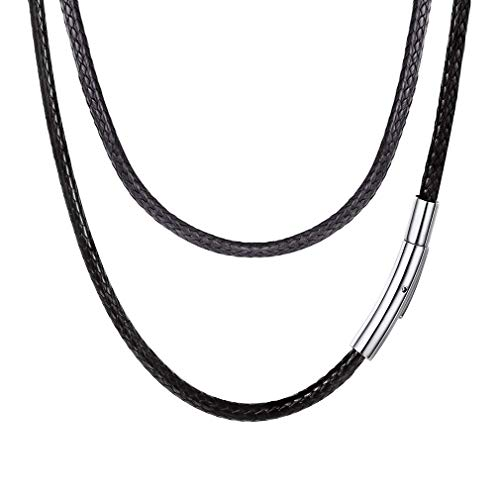 Cord Necklace with Durable Stainless Steel Snap Clasp, 18 Inch 3MM Black Men Women Leather Choker Necklace DIY Jewelry Making Hypoallergenic Waterproof Braided Woven Wax Cord Rope Chain for Pendant