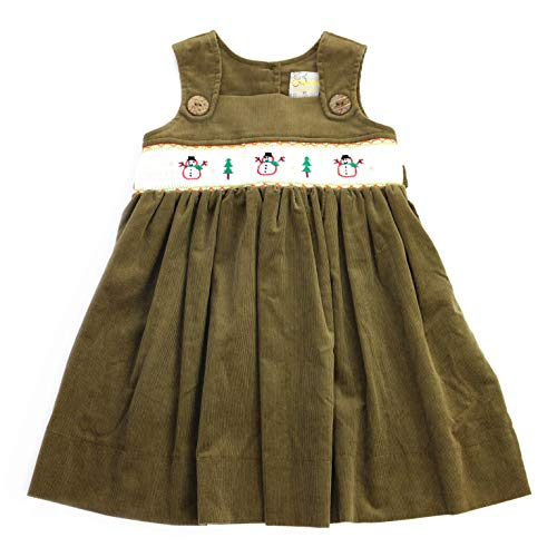 sissymini - Toddler Holiday Tinsel Hand Smocked Jumper Corduroy Dress in Dried Herb Snowman 3T (Elena Pine)