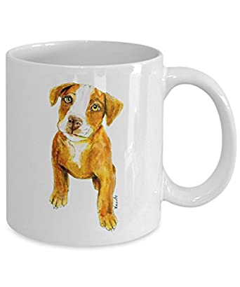 Cute Pit Bull Puppy Mug - Style No.2 - Cool Ceramic Pitbull Coffee Cup (11oz)