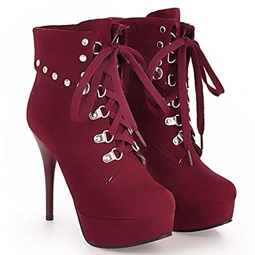 Boots Women Up Coolcept Fashion Autumn Claret Stiletto Lace CIwawqd