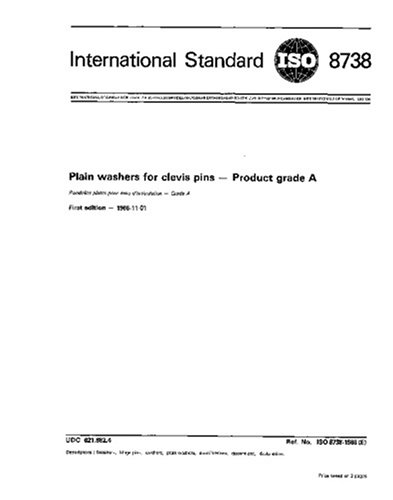 ISO 8738:1986, Plain washers for clevis pins - Product grade A