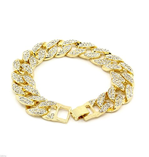 """14k Gold Finish 15mm 30"""" Fully CZ Iced Out Hip Hop Miami Cuban Chain & 9"""" Bracelet"""