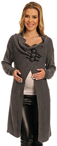 Happy Mama Womens Maternity Warm Knit Cardi Blazer Coat Long Wrap S-XL 106p (Graphite, 10)