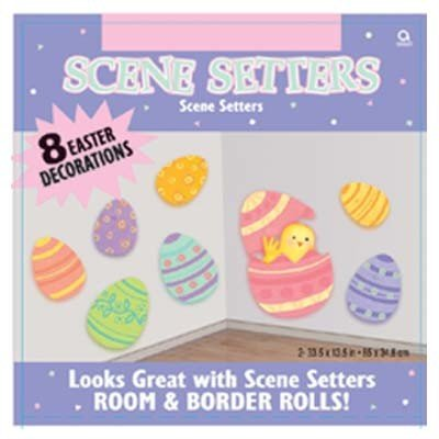 Easter Decorations: Eggs And Chicks Scene Setter Add-On -