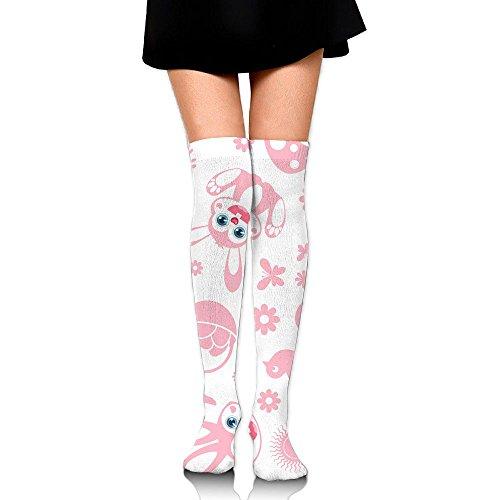 Pink Bunny Women's & Baby Girl's 3D Print Knee High Socks Classic Long Socks Fashion Knee High Cotton Socks (Yarn Bunny Print)