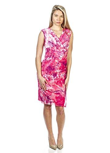 Mesh Surplice Dress - London Times Surplice Neckline Jersey Mesh Dress (8)