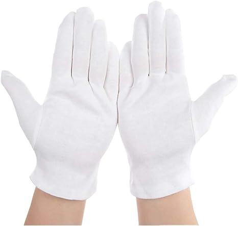 HeiHy - Guantes de Trabajo (6 Pares, algodón Suave), Color Blanco ...