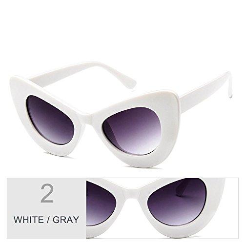 de Multi sobredimensionado gris Sunglasses Vintage mujer White gafas de sol Gato Gray de Ojo mujer TL sol gafas wgE6F