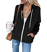 Dokotoo Women's Full Zip Up Hoodie Long Sleeve Hooded Sweatshirts Pockets Jacket Coat for Women
