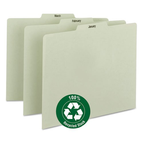 Smead 50365 Gray/Green 100% Recycled Pressboard Guides with Monthly and Daily Indexed Sets - 12 x Tab - 3 Tab(s)/Set - 12 / Set - Gray, Green Divider ()