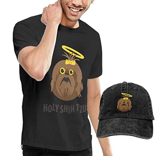 AACCTSHIRT Men's T-Shirt and Hats Holy Shih Tzu Leisure Sports Style Black