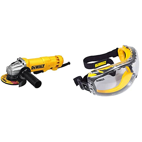 DEWALT Angle Grinder Tool, Paddle Switch, 4-1/2-Inch, 11-Amp with w/Safety Goggle (DWE402 & DPG82-11C)