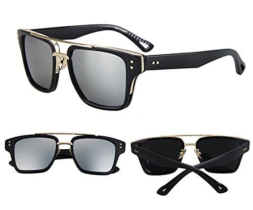 Toping Fine European American Fashion Vintage Rayed Fishing Casal Men Women Top Metal Fun Sun Glasses Brad Pitt Shades Sunglasses,BlackWhite,50Centimeters