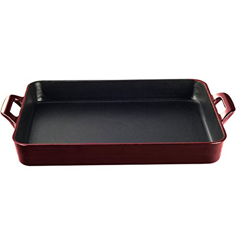 Cheap La Cuisine LC 8105 1 Piece Shallow Cast Iron Roasting Pan with Enamel Finish, Ruby