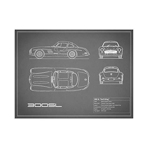 Print on Canvas Wall Art Rogan, Mark Mercedes 300SL Gullwing-Grey Size 16x 12 (40x30 cm) ()