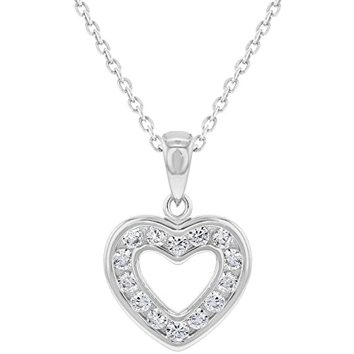 Necklace Girls Heart (925 Sterling Silver Clear CZ Small Open Heart Pendant Necklace for Girls 16