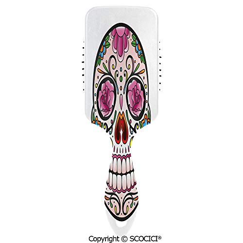 Hair Brush with Air Cushion Combs Spooky Sugar Skull with Pink Roses Twigs Blooms Teeth Smile Halloween Decorative for Scalp Massage Anti-static, No Hair -